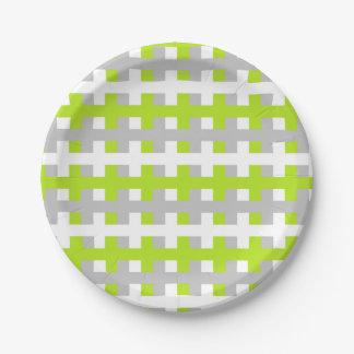 Prato De Papel Verde limão, prata e branco abstratos