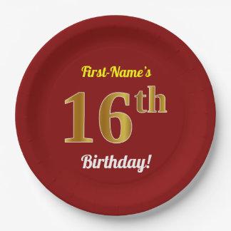 Prato De Papel Vermelho, aniversário do ouro do falso 16o + Nome