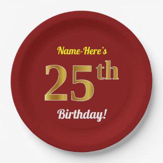 Prato De Papel Vermelho, aniversário do ouro do falso 25o + Nome