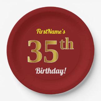 Prato De Papel Vermelho, aniversário do ouro do falso 35o + Nome