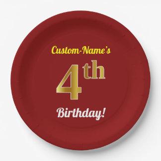 Prato De Papel Vermelho, aniversário do ouro do falso 4o + Nome