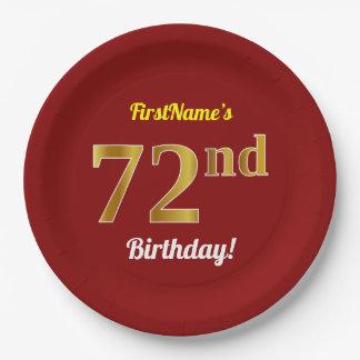 Prato De Papel Vermelho, aniversário do ouro do falso 72nd + Nome