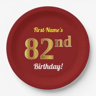Prato De Papel Vermelho, aniversário do ouro do falso 82nd + Nome