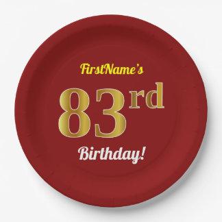 Prato De Papel Vermelho, aniversário do ouro do falso 83rd + Nome