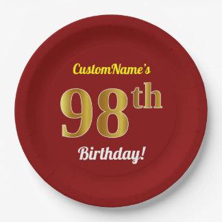 Prato De Papel Vermelho, aniversário do ouro do falso 98th + Nome