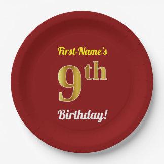 Prato De Papel Vermelho, aniversário do ouro do falso 9o + Nome