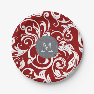Prato De Papel Vermelho de vinho escuro do papel de parede floral