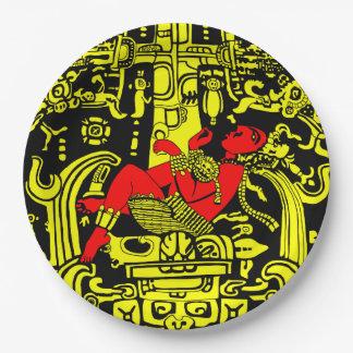 Prato De Papel Versão amarela & vermelha do astronauta antigo -