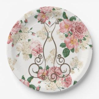 Prato De Papel Vestido elegante adorável, floral