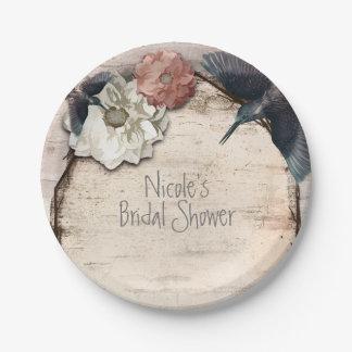 Prato De Papel Vidoeiro branco rústico floral & colibri elegante
