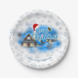 Prato De Papel Vila mágica do Natal