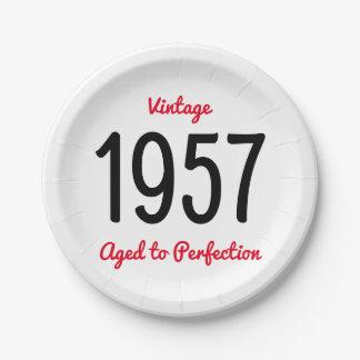 Prato De Papel Vintage 1957 envelhecido à festa de aniversário da