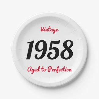 Prato De Papel Vintage 1958 envelhecido à festa de aniversário da