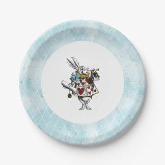 Prato De Papel Vintage Alice azul no coelho do país das