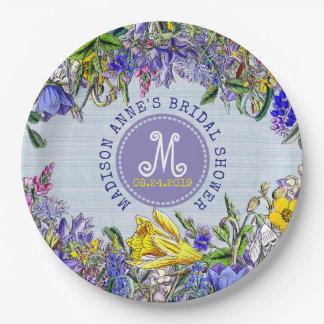 Prato De Papel Vintage do monograma dos Wildflowers do chá de