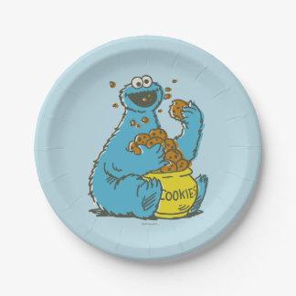 Prato De Papel Vintage do monstro do biscoito