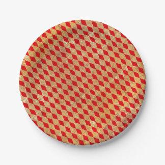 Prato De Papel Vintage do vermelho do Harlequin