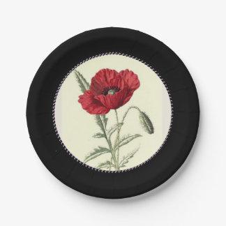 Prato De Papel Vintage-Poppy-Art_Gem-Inner-Circle--Na moda-Preto