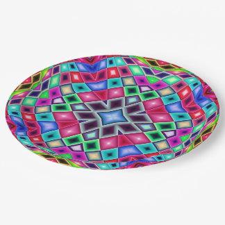 Prato De Papel Vitral do mosaico do arco-íris do caleidoscópio