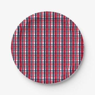 Prato De Papel Xadrez azul branca vermelha do fã de esportes de