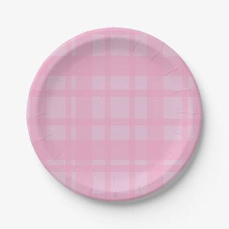 Prato De Papel Xadrez cor-de-rosa no rosa
