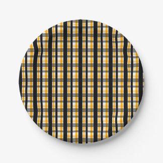 Prato De Papel Xadrez do ouro amarelo do preto do fã de esportes