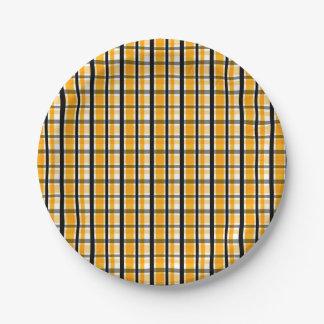 Prato De Papel Xadrez do preto do ouro amarelo de fã de esportes
