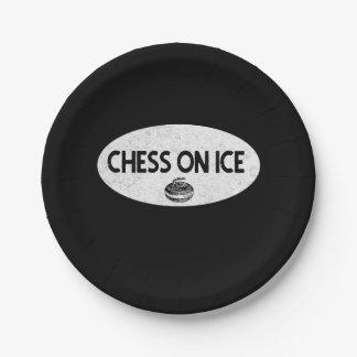 Prato De Papel Xadrez na placa de papel de ondulação do gelo