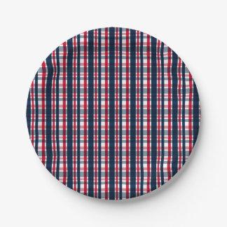 Prato De Papel Xadrez vermelha branca azul do fã de esportes de