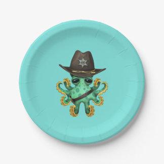 Prato De Papel Xerife verde bonito do polvo do bebê