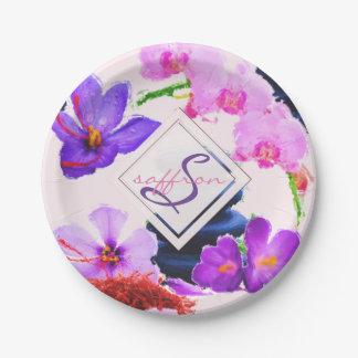 Prato De Papel Zen das flores do açafrão e da orquídea do