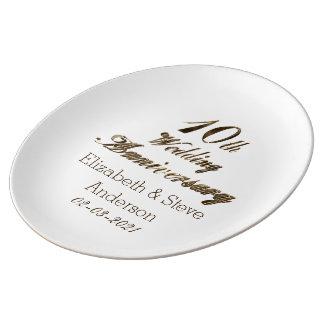 Prato De Porcelana 10o Ouro elegante da tipografia do aniversário de