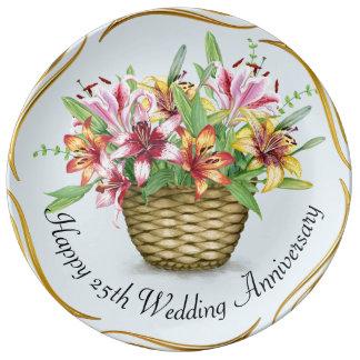 Prato De Porcelana 25a placa feliz da porcelana do aniversário de