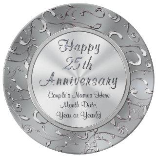 Prato De Porcelana 25a placa personalizada do aniversário, porcelana