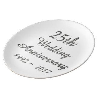 Prato De Porcelana 25o Tipografia de prata chique do aniversário de