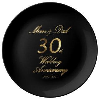 Prato De Porcelana 30o Tipografia do aniversário de casamento da