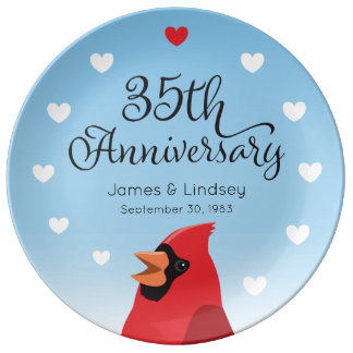 Prato De Porcelana 35o Aniversário, cardeal e corações de casamento