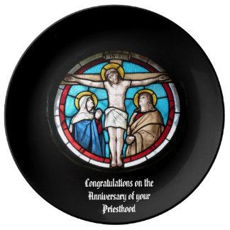 Prato De Porcelana 50th do aniversário 15o do padre 20o 25o 30o 40th