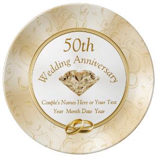 Prato De Porcelana 50th Ideias do presente do aniversário para