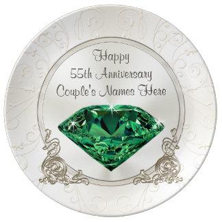 Prato De Porcelana 55th presentes felizes esmeraldas do aniversário