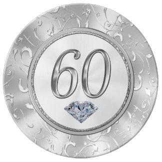 Prato De Porcelana 60th Presentes de aniversário ou 60th placa do
