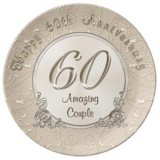 Prato De Porcelana 60th presentes felizes do aniversário de casamento