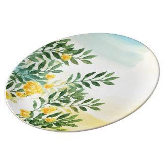 Prato De Porcelana A aguarela floresce a placa decorativa da