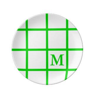 Prato De Porcelana A estrutura brilhante do verde do verão listra o