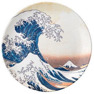Prato De Porcelana A grande onda