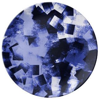 Prato De Porcelana A mão do azul de índigo causou dor à placa