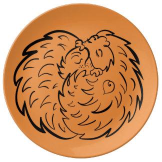 Prato De Porcelana Abraçando ouriços 4 amantes dos animais selvagens