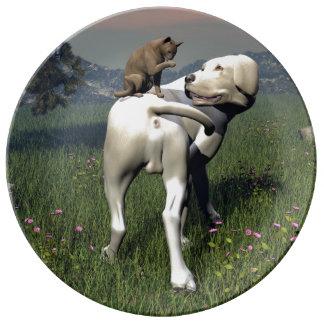 Prato De Porcelana Amizade do cão e gato