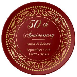 Prato De Porcelana Aniversário decorativo vermelho marrom do ouro da
