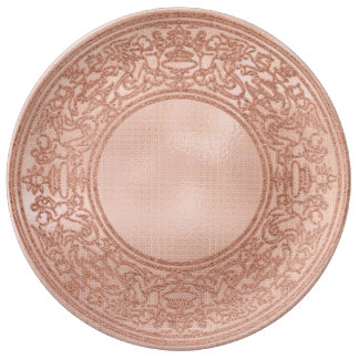 Prato De Porcelana Anjos cor-de-rosa do pó do ouro do ornamento do